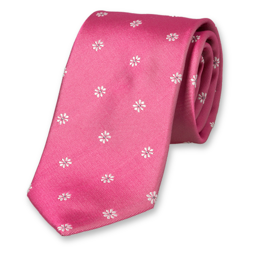 Pink tie with flowers (1)