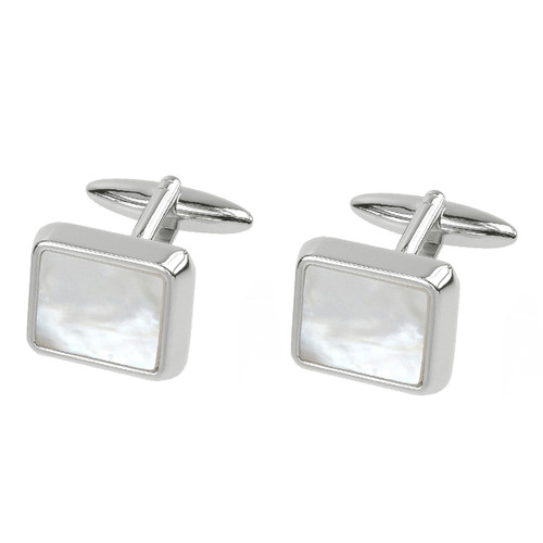 Cufflinks - Square Mother of Pearl - Silver (1)