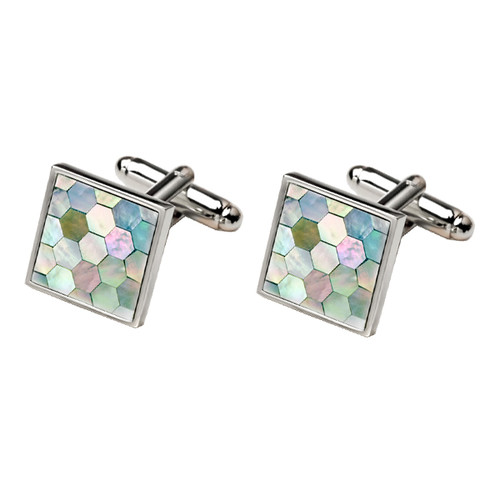 Cufflinks - Green mother of pearl (1)