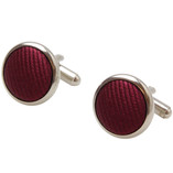 Burgundy Cufflinks - Silk - Thumbnail 1